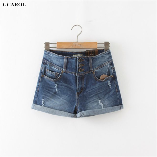 GCAROL Women Sexy Ripped Denim Shorts Ladies'Casual Mid Waist Cuff Jeans Shorts Summer Spring Autumn Plus Size 32 Shorts
