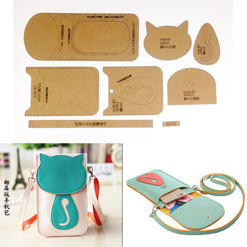 1set DIY Leather Handmade Craft Women Handbag Shoulder Bag Sewing Pattern Hard Kraft Paper Stencil Template 10x13.5x1cm