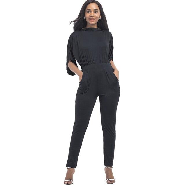 6c9e590cdc8 YJSFG HOUSE Sexy Women Half Sleeve Jumpsuit Romper Elegant One Piece Summer  Playsuit Bodysuit 2017 Ladies Slim Overalls Black