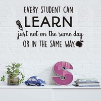 Каждый студент может узнать Наклейки на стену классе поощрять девиз Домашний Декор карандаш Apple наклейки на стены виниловые детская комнат...