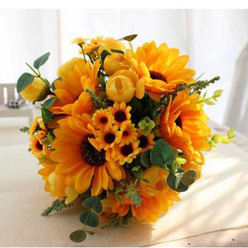 Kuning Ungu Pernikahan Bouquet Buatan Buatan Buatan Buatan Buatan Bunga Mawar Buque Casamento Bridal Bouquet untuk Pernikahan Dekorasi