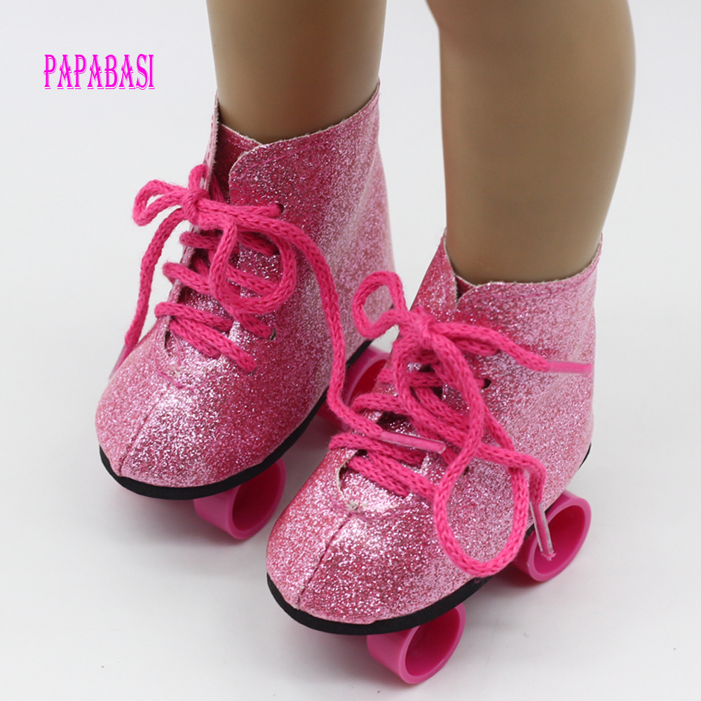 Roller dozer shoes - Red Top Quality Sport Shoes For 18 Inch American Girl Doll Roller Skating Shoes Fit For