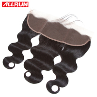 Allrun Brazilian Body Wave Lace Frontal Free Part Ear to Ear Human Hair Lace Closure Size 13x4 inch Natural Color non remy Hair