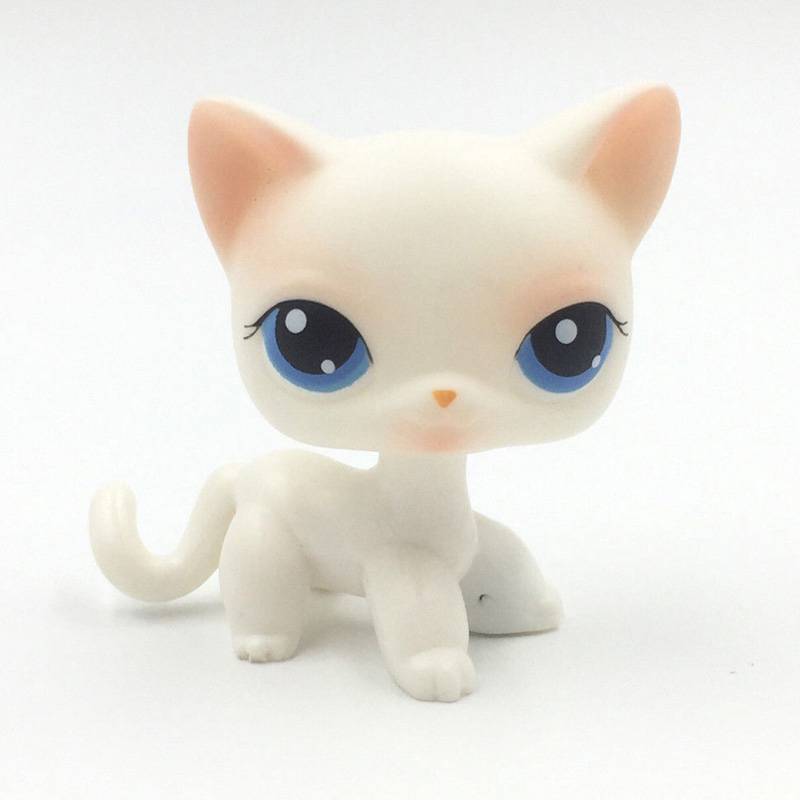 pet shop lps toys Rare Pink White Short Hair Cat #64 Old Original Kitty Blue Eyes Collection Action Figure For Child Xmas Gift new pet genuine original lps 64 rare pink white short hair cat kitty blue eyes collection figure toys