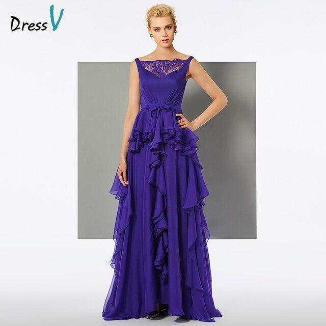 Dressv Indigo Long Evening Dress Straps A Line Floor Length On Wedding Party Formal Lace