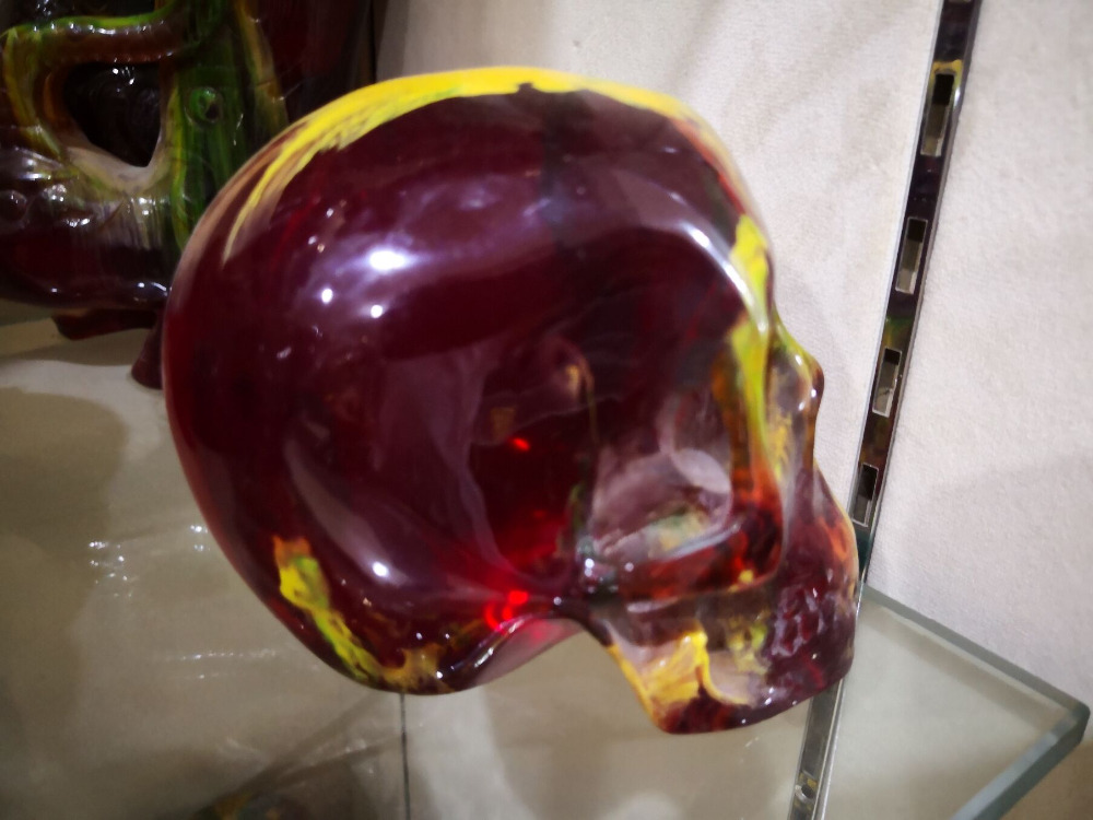 11.5 cm China collectibles skull Burma Artificial amber yellow statue carving