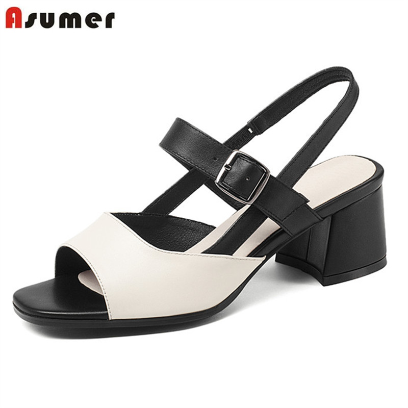 ASUMER 2018 leisure summer women sandals classic elegant new arrive shoes genuine leather comfortable shoes woman new arrive women