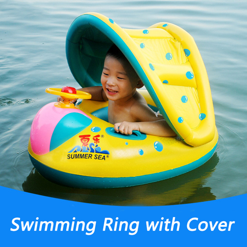 Childrens Swimming Ring With Sun Cover Seat Circle Sound Swimming Supplies Plastic Inflatable Float Kids Underarm Circle Ring