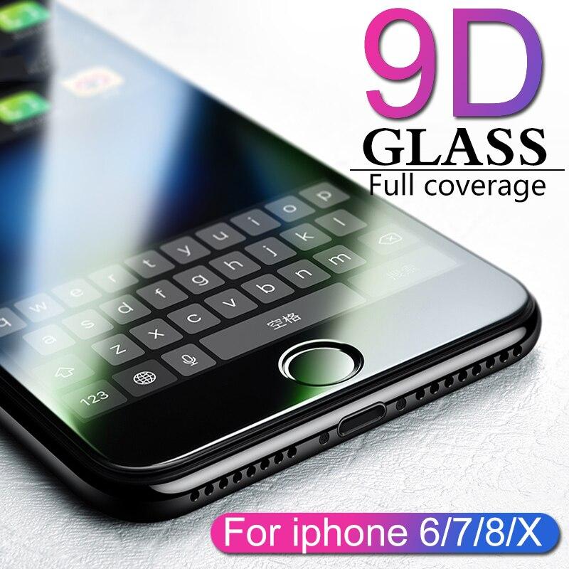 9D protectora de vidrio para iphone 6 6S 7 7 8 plus X vidrio en iphone 7 6 8 X R XS MAX protector de pantalla iphone 7 6 protección de pantalla XR