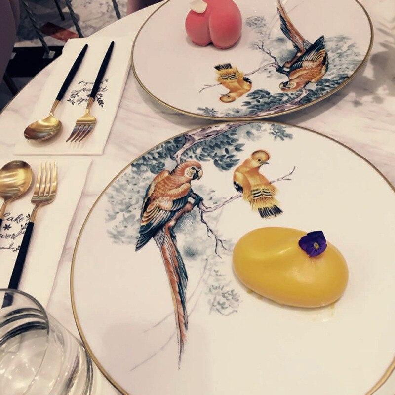 Assiette plateau à nourriture bord doré | Assiette de la vaisselle ronde, Assiette en porcelaine, plateau à nourriture, série animale de la forêt, vaisselle de table, ensemble de peinture à l'encre chinoise