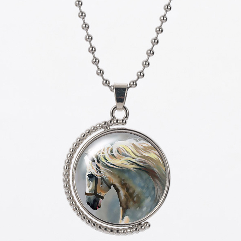CB8 White horse pattern 25mm send with bag 925 silver 45cm chain sky blue color necklace round shape women gift sky blue stripe pattern skirts
