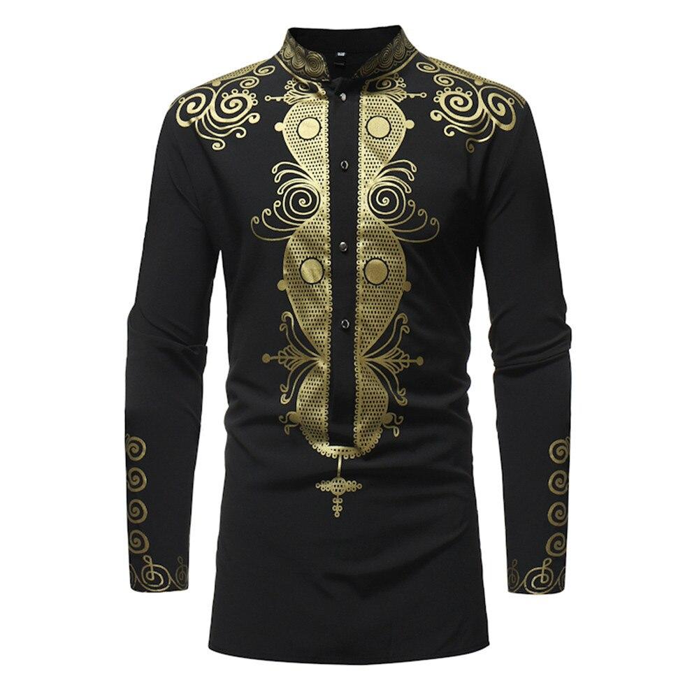 Feitong Men Shirts Spring Luxury African Print Long Sleeve Dashiki Shirt Top Comfortable Blouses Slim Fit Male Shirt Plus Size