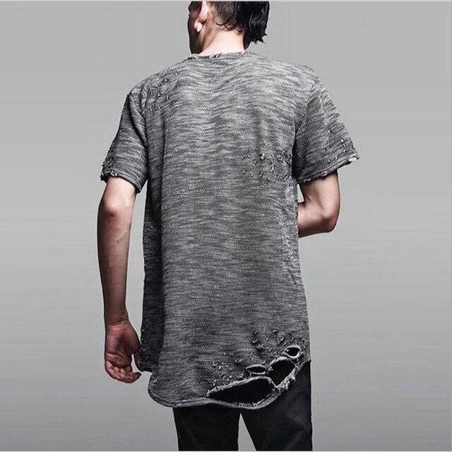 Negro blanco gris algodón crewneck hombres rasgados masculinos camisetas  destruido camiseta moda Swag skate rap camiseta 226fe1a63b7