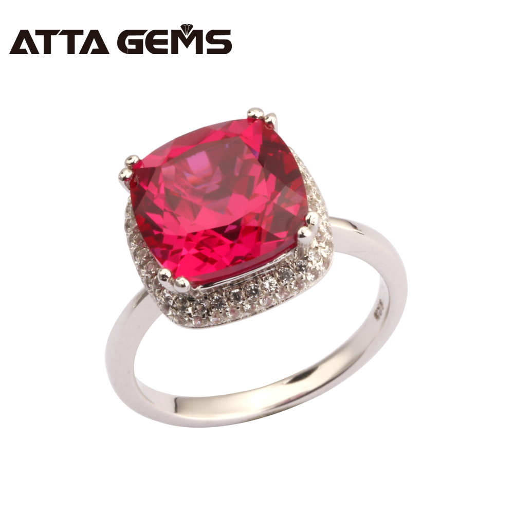 Ruby 925 Sterling Silver Ring 5.85 Carats Created Red Ruby For Women Wedding Party Ring Women Fashion Ruby Silver Ring путь ruby