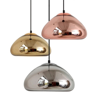 wongshi Modern Plated Glass Pendant Lamp Chrome Gold Copper Glass Globe Round Ball Pendant Lights for Dining Room