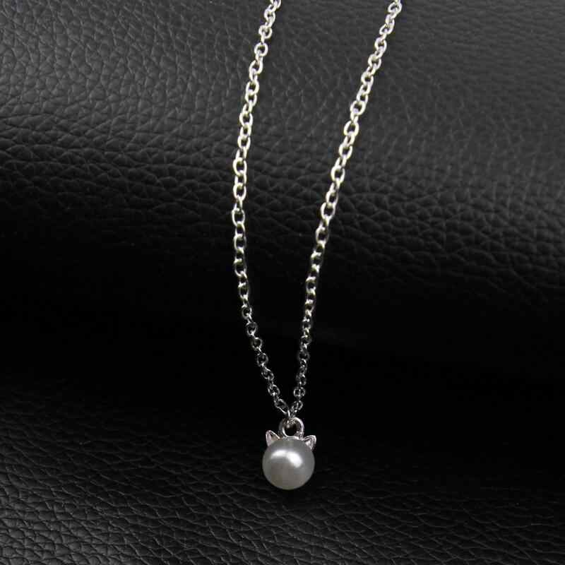 New Fashion Necklaces & Pendants For Women Kitten Cat Simulated Pearl Necklace Jewelry Collier Femme Bijoux x260