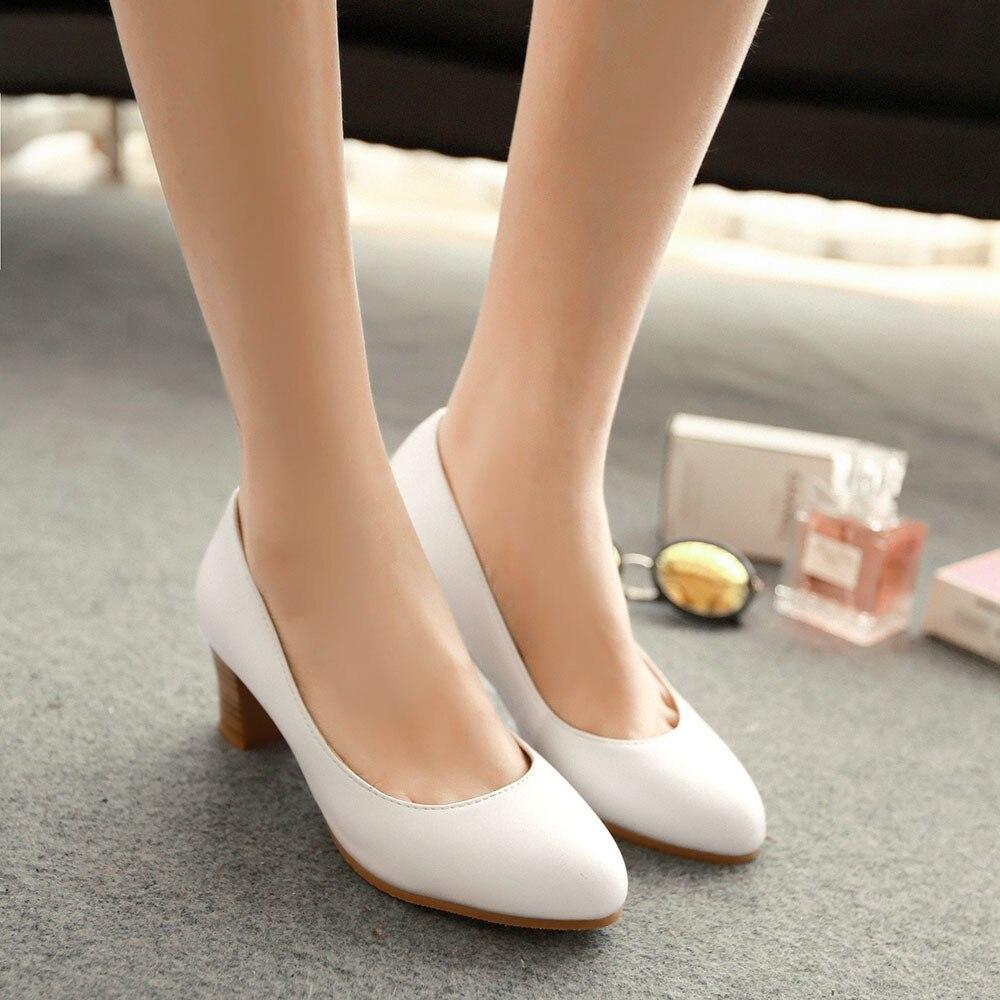 Women Medium Heel Working Shoes Woman Black Pink Low Heels Offcial ...