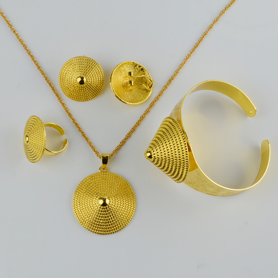 Anniyo Ethiopian Gold Jewelry set Necklace/Earring/Ring/Bangle ...