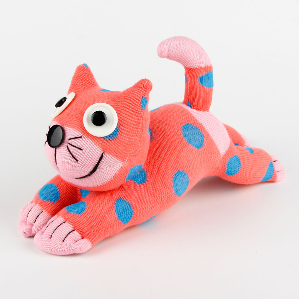 Kids Gift Handmade Diy Stuffed Cute Pink Dot Sock Cat Baby Toys Birthday Gifts Christmas New Year Soft Animals Doll Cat012 In Plush From