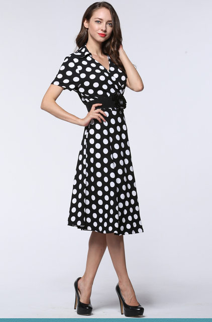 Retro Dress Plus Size Vintage Dress Polka Dot Vestidos Summer 2017 Audrey Hepburn Big Size Short Sleeve Midi Retro Dresses L 7xl