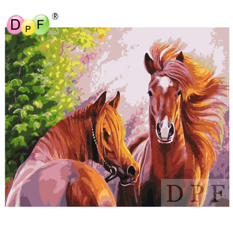 DPF Oil Painting By Numbers No Frame Paint On Canvas Wall crafts Pictures For Living Room Wall art Home Decor Two horses gift