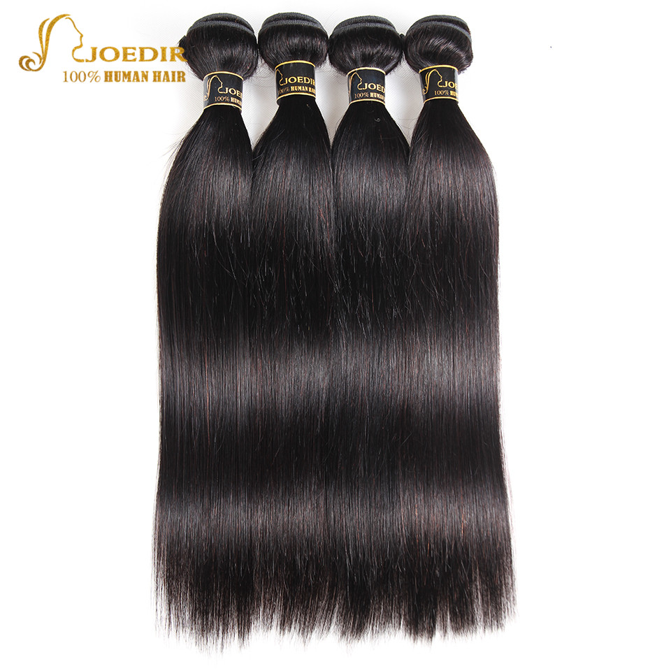Joedir Brazilian Straight Hair  2 3 4 Bundles Deal With Closure Cheap Human Hair Weave Bundles With Lace Closure Non Remy