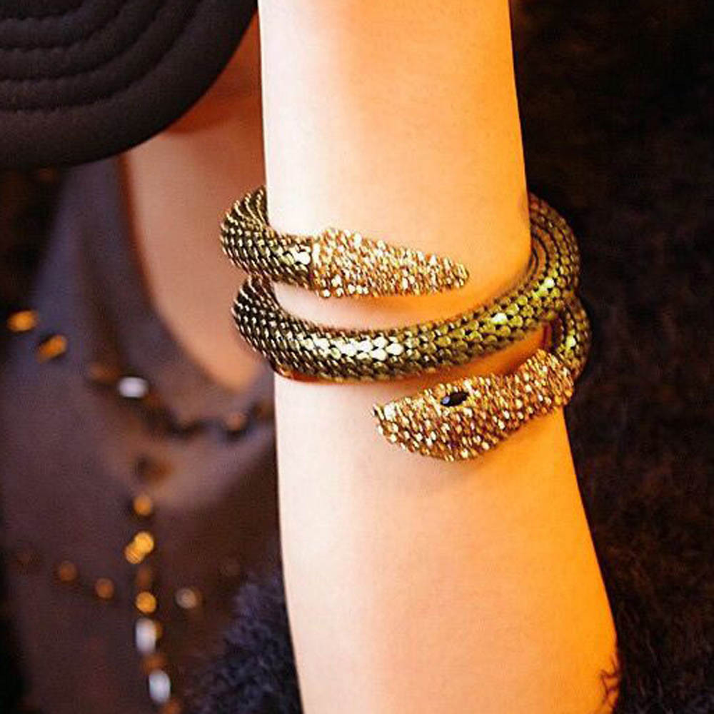 Punk Rhinestone Curved Stretch Snake Cuff Bangle Bracelet for women ladies Wristband Cuff Cord Alloy Rhinestone Gold Sliver F05 bangle