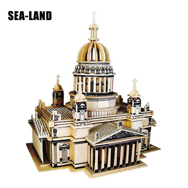 3D de puzzle en bois Enfants Et Adulte Modèle Le Saint Isaac Cath Un Enfants Jouet De La Célèbre Bâtiment de Série un Meilleur Cadeau Pour Les Enfants