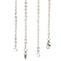 10cs 2.4mm Width 30'' Silver Stainless Steel flat oval Necklace Chain For memory living Glass Locket & oil Diffuser Locket