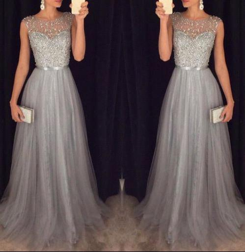 Sleeveless Elegant A-line Grey Tulle 2018 Sparkly Sequins Beaded vestido de noiva prom Gown Off The Shoulder   bridesmaid     dresses