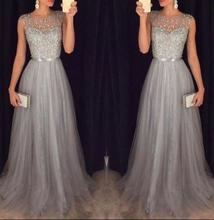 Sleeveless Elegant A-line Grey Tulle Prom Dresses 2017 Sparkly Sequins Beaded Evening Gowns