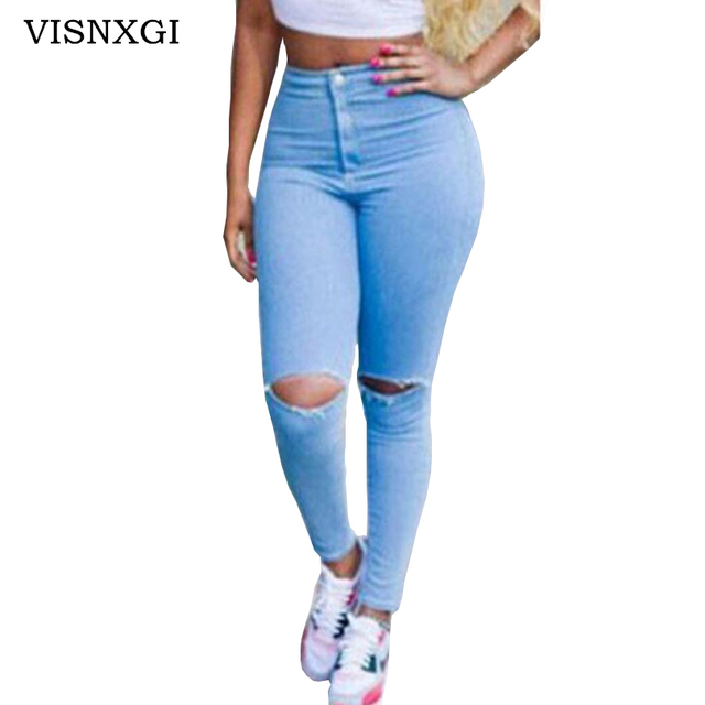 Trou Designer Déchiré Grand Pantalon Jeans 2018 Femmes Bouton Denim 08qUnzwY