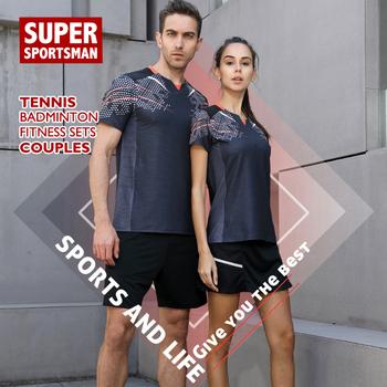 Mężczyźni trening Fitness sport bieganie garnitury kobiety tenis dres Badminton odzież sportowa zestawy odzież treningowa odzież sportowa tanie i dobre opinie Poliester WOMEN Krótki 20190705 Anty-pilling Przeciwzmarszczkowy Oddychające Szybkie suche Koszule Pasuje prawda na wymiar weź swój normalny rozmiar