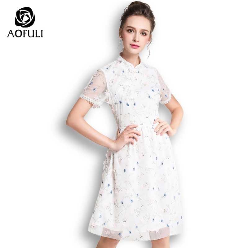a7bb48e4f9 AOFULI Chinese Mandarin Collar Floral Embroidery Dress White Short Sleeve  Summer Tulle Party Dress Big Size