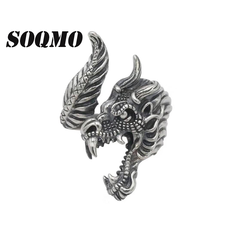 SOQMO Men Ring 100% Real 925 sterling silver Domineering dragon opening signet big LOVE ring men brand fine jewelry SQM183 beier 925 silver sterling jewelry 2015 men s retro domineering ring animal ring super big dragon man ring d1234