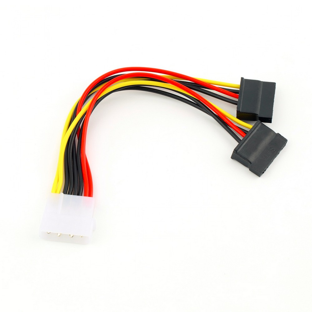 In stock! 1pc wholesale Serial ATA SATA 4 Pin IDE Molex to 2 of 15 Pin HDD Power Adapter Cable Hot Worldwide Promotion
