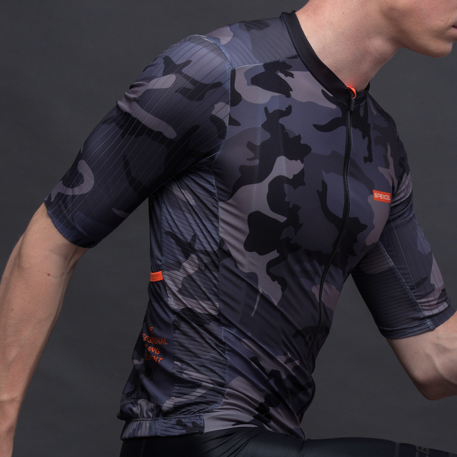 SPEXCEL 2019 new Camouflag aero cycling Jersey short sleeve road mtb cycling shirt Aerodynamics stripe fabric at sleeve and back