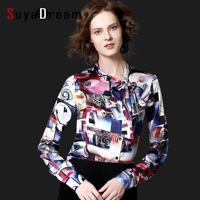 d8a817509571b Women Silk Blouse Print REAL Silk Satin Women Blouses Bow tie collar PLUS  SIZE shirt Blusas femininas STRETCH 2017 NEW