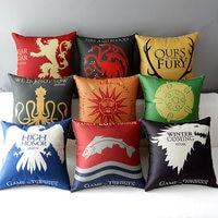 Game Of Thrones Totem Badge Pattern Cushion Case Drama Logo Cotton Linen Cushion Cover Decorative Pillowcase