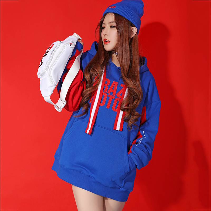 Hip Hop Dance Costumes Female Embroidery Print Long Sleeve Blue Tops Srteet Dancing Clothes Adult Party Performance Wear DT706