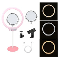 10 Tabletop LED Ring Light with Mirror Dimmable Stand for Phone Makeup Camera