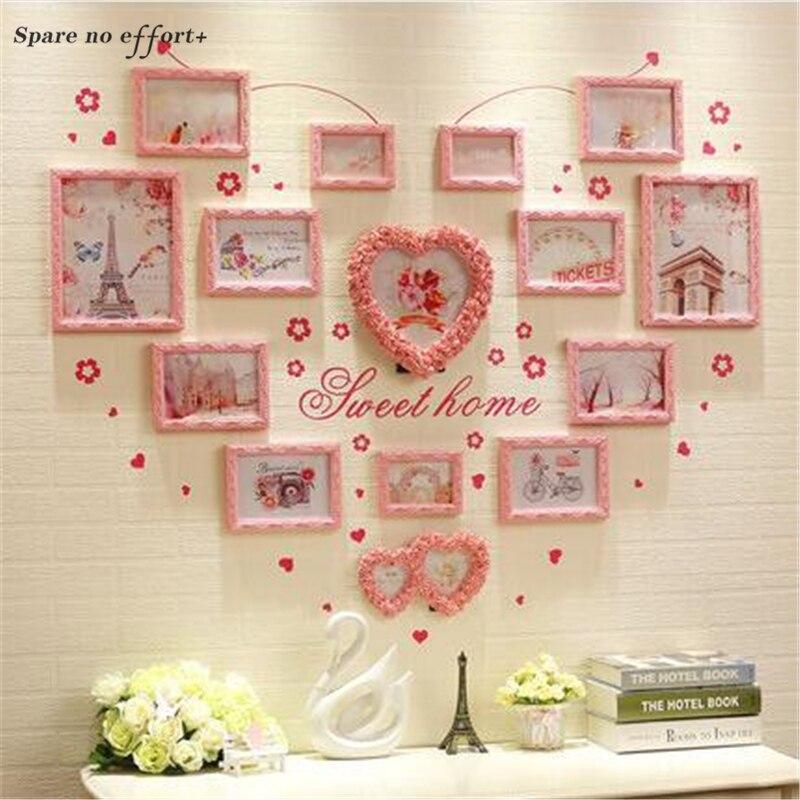 Cadre Photo en bois rose en forme de coeur décoration murale cadre Photo de mariage mur anniversaire cadeau de mariage joli cadre Photo 15 pièces
