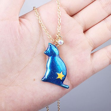 1PC Fashion Jewelry Enamel Cat Pandent Necklaces For Women Gold Color Star Sweater Necklace Bohemian Chain N921 3