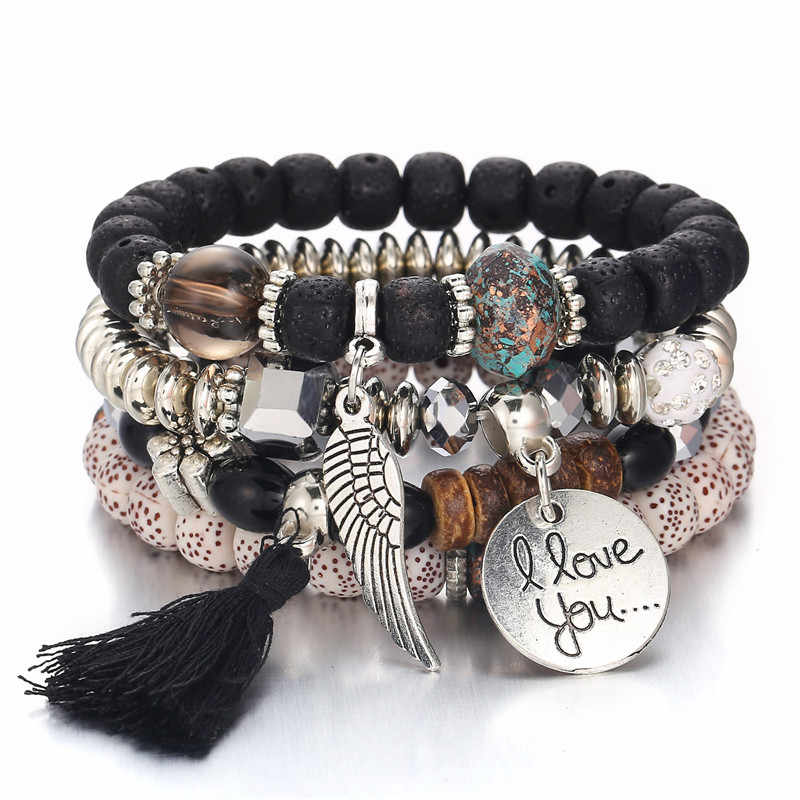 7cc611c678 Miss JQ 4pcs set New Bohemia Style Bracelets   Bangles For Women Colorful Beaded  Bracelet