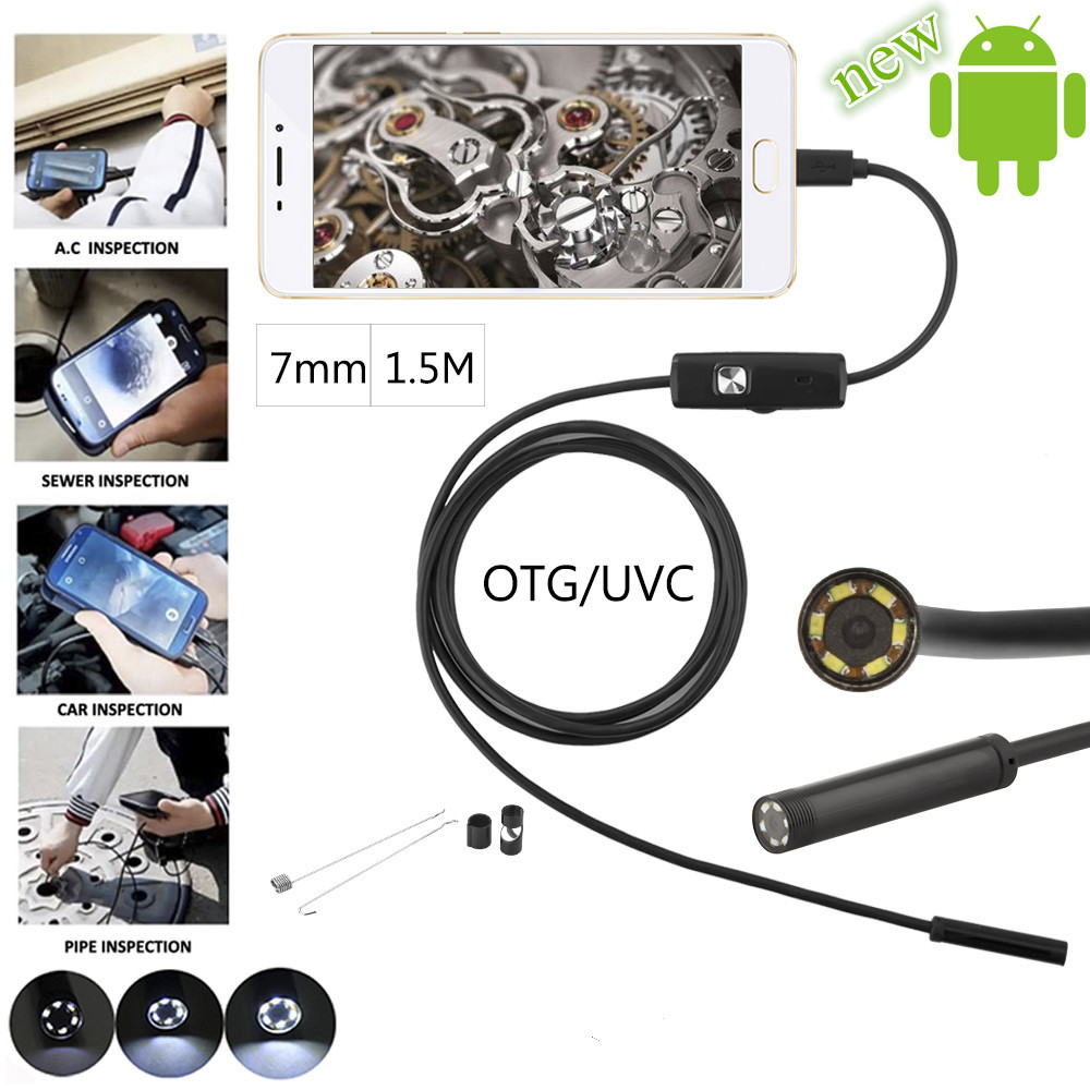 JCWHCAM 7mm 1.5M Android USB Endoscope Camera Snake USB Pipe Inspection Andorid Cellphone OTG USB Borescope Camera wifi 4 9mm lens ear nose medical usb endoscope borescope inspection otoscope camera for ios android pc