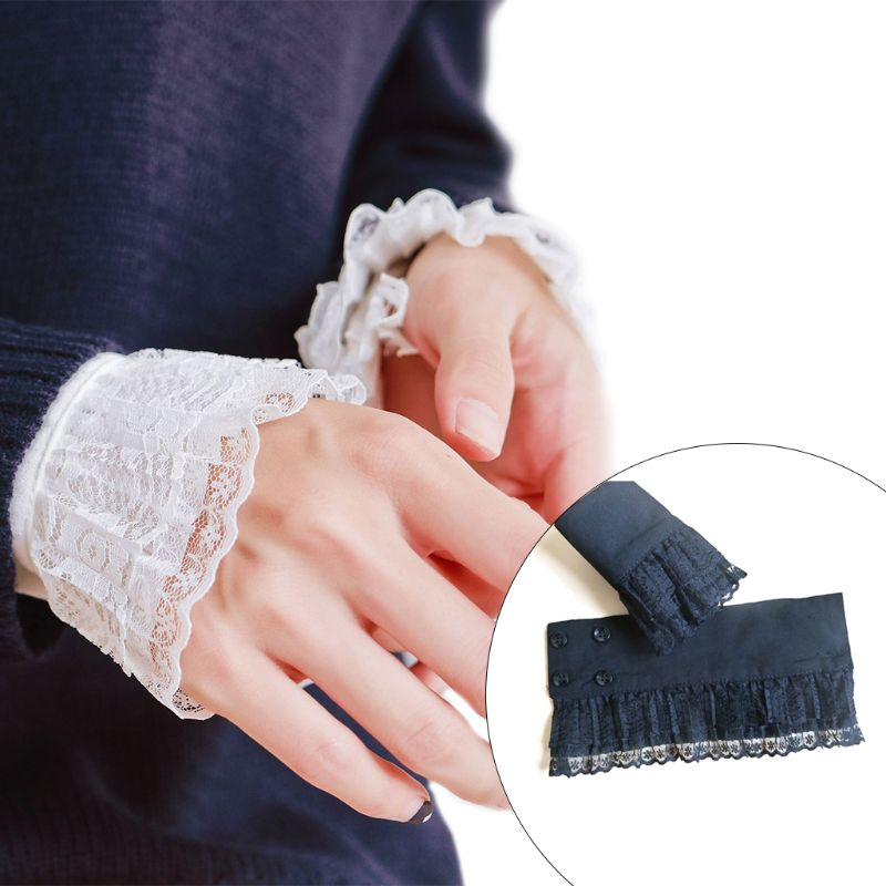 2Pcs/Pair Women Girls Decorative Chiffon Fake Flare Sleeves Floral Lace Pleated Ruched False Cuffs Apparel Wrist Warmers With Fo