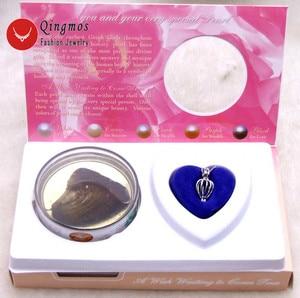 Image 2 - Qingmos 5 pudełek życzenie perła miłość serce uchwyt na bidon Chokers naszyjnik dla kobiet z zawieszkami naszyjnik z pereł Oyster Gift Box 3621