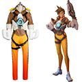 OW Tracer Cosplay Costumes Hero Lena Oxton Battle Suit Brown Jacket Yellow Pants Halloween Carnival Costumes for Women Men