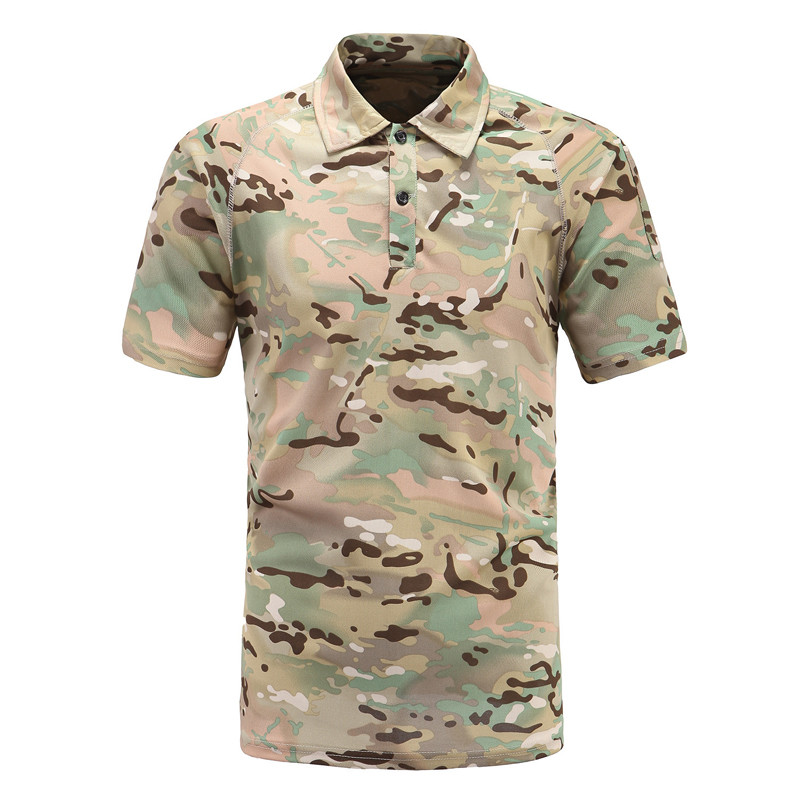 Military Camouflage Polo Shirt Short Sleeve Shirt New 2019 Summer Casual Army Combat Breathable Tactical Quick Dry Polo Shirt