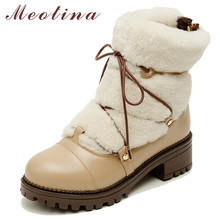 Купить с кэшбэком Meotina Winter Snow Boots Women Natural Genuine Leather Plush Block Heel Ankle Boots Warm Wool Zipper Round Toe Shoes Lady 34-39